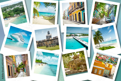 Foto op Plexiglas Caraïben Cruise memories on polaroid photos - summer caribbean vacations