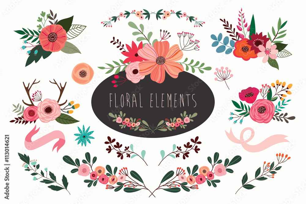 Fototapety, obrazy: Hand drawn vector floral set with branches and flowers bouquets.