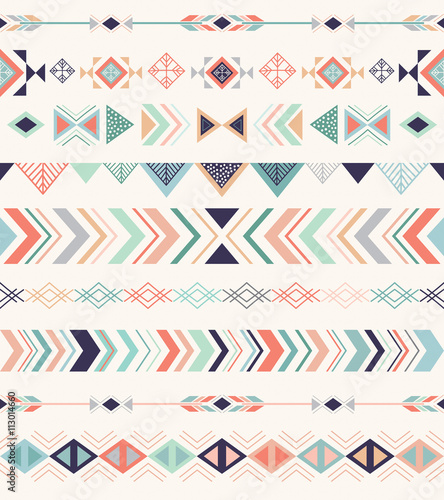 Photo sur Aluminium Style Boho Aztec pattern. Seamless pattern with geometric elements.