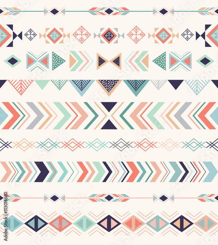 Aluminium Prints Boho Style Aztec pattern. Seamless pattern with geometric elements.
