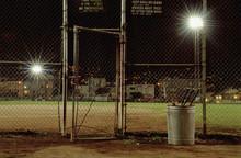 A Sports Field Illuminated At Night