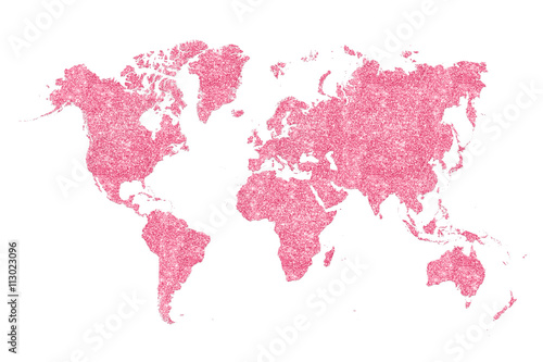Fotoposter Wereldkaart World map filled with pink glitter, plenty of space to put your own quote in.
