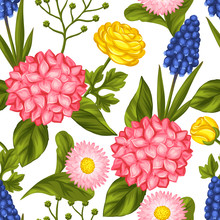 Seamless Pattern With Garden Flowers. Decorative Hortense, Ranunculus, Muscari And Marguerite. Easy To Use For Backdrop, Textile, Wrapping Paper, Wallpaper