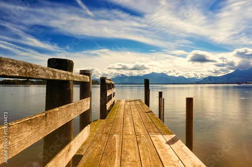 fototapeta na lodówkę wooden jetty (247) lake chiemsee
