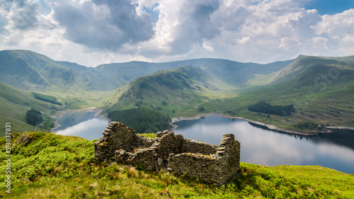 Poster Hill Bothy ruins above Haweswater, The Lake District, Cumbria, England