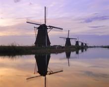 Windmills Along The Canal, Kinderdijk, Netherlands