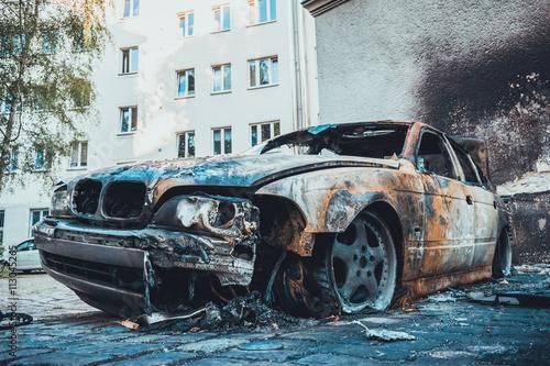 Photo  burned car