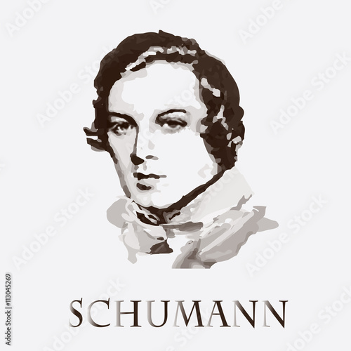 Fotografía  Composer Robert Schumann. vector portrait