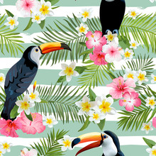Toucan Bird Background. Retro Pattern. Tropical Background.