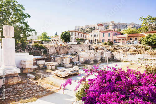 Tuinposter Athene Ancient Greece, detail of ancient street, Plaka district, Athens, Greece