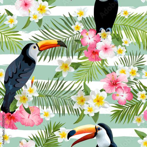 tlo-ptak-tukan-retro-wzor-tropikalny-desen