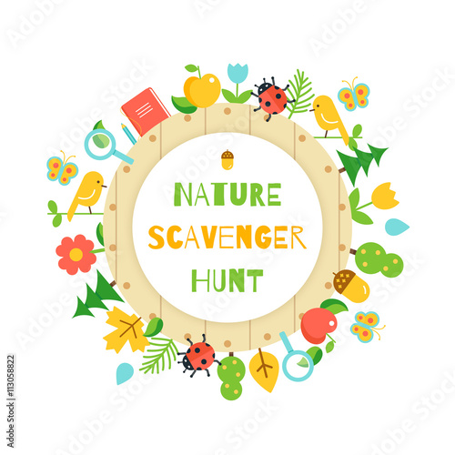 Foto  Nature Scavenger Hunt. Kids Game Poster