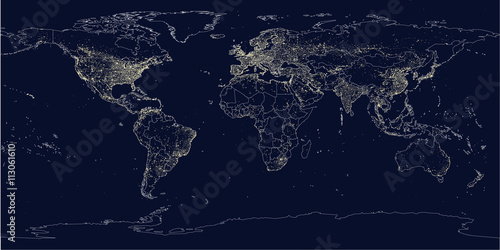La pose en embrasure Carte du monde Earth's city lights political map