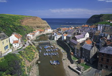 Boats Moored In The Protected Harbour Of Staithes, Yorkshire