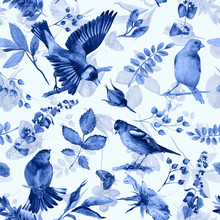 Seamless Pattern With Flowers, Leaves, And Birds. Watercolor Flowers And Birds. Vintage. Can Be Used For Gift Wrapping Paper And Other Backgrounds. Monochrome Blue Color.