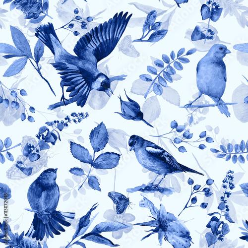 bezszwowy-wzor-z-kwiatami-liscmi-i-ptakami-akwarela-kwiaty-i-ptaki-zabytkowe-moze-byc-uzywany-do-papieru-do-pakowania-prezentow-i-innych-tel-monochromatyczny-kolor-niebieski