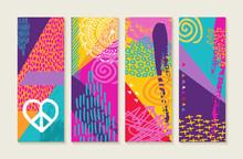 Color Summer Set Design With Nature Art Elements