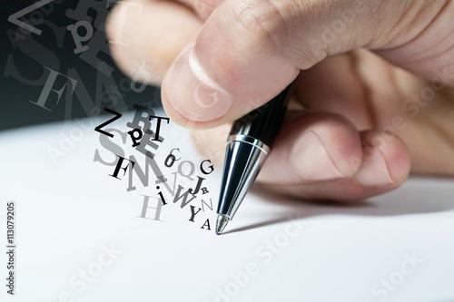 Fotografie, Obraz  mano, scrivere, firmare, penna, lettera