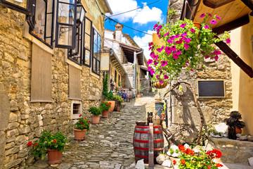 Fototapeta Uliczki Town of Hum colorful old stone street