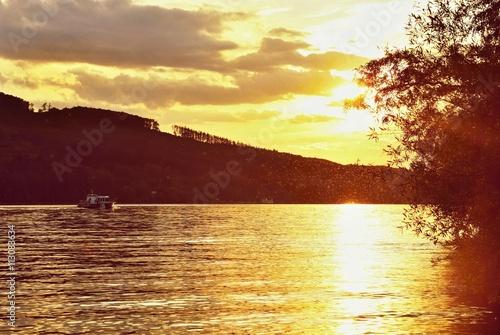 Beautiful sunset on the water.Brno dam. Brno - Czech Republic - Europe.