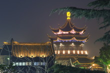 Pagoda And Traditional Architecture Illuminated At Night In Shantang Water Town, Suzhou, Jiangsu Province, China