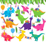 Fototapeta Dinusie - Collection of Vector Birthday Party or Party Dinosaurs and Decorations