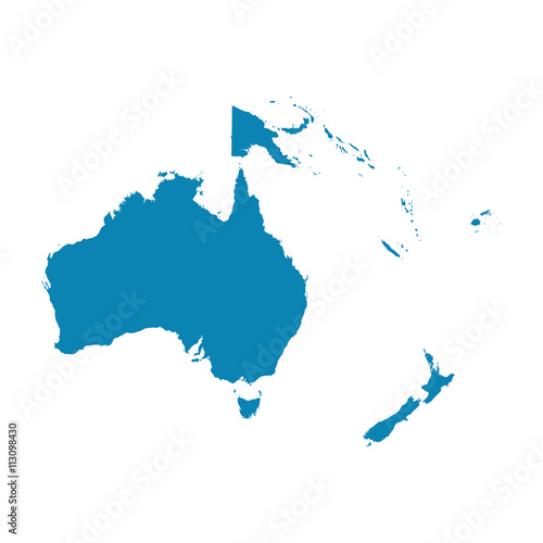 Canvas Print Map of Oceania on a white background. Flat vector