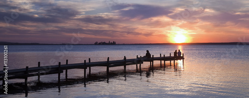 Fotobehang Pier Abendstimmung am Meer Panorama