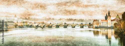 Fototapeta Charles Bridge in Prague (Karluv Most) the Czech Republic. Vintage effect. obraz