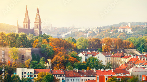 Poster Prague Prague sunset landscape from view to vysehrad