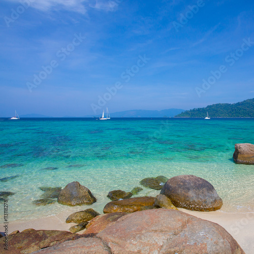Poster Turquoise Rocks , sea and blue sky - Lipe island Thailand