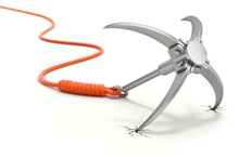 Grappling Hook With Orange Rope On White Background - 3D Security Concept