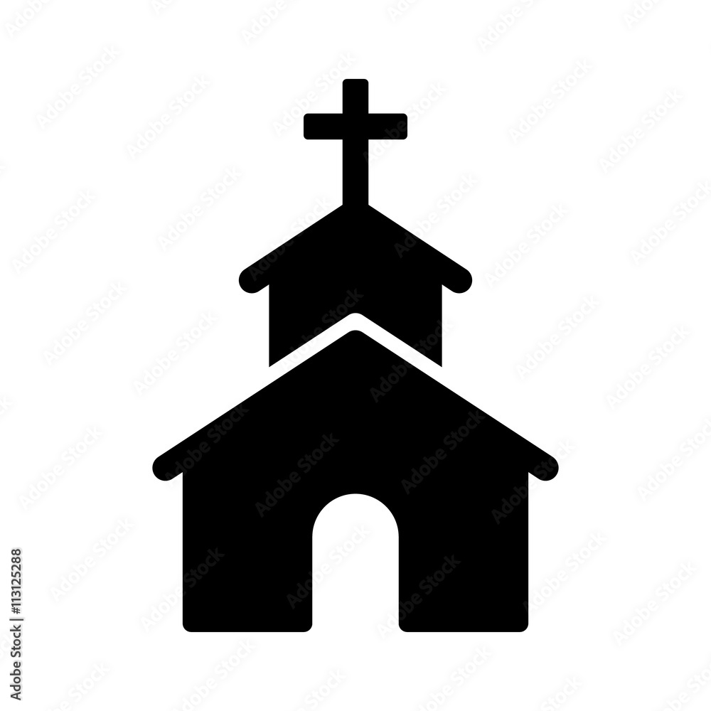 Fototapety, obrazy: Christian church / chapel with cross flat icon for apps and websites