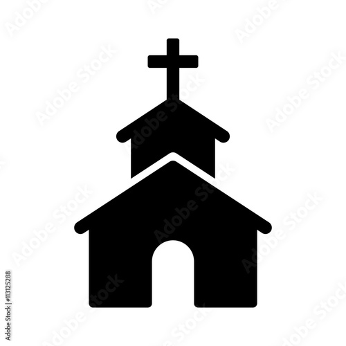 Christian church / chapel with cross flat icon for apps and websites Fototapet