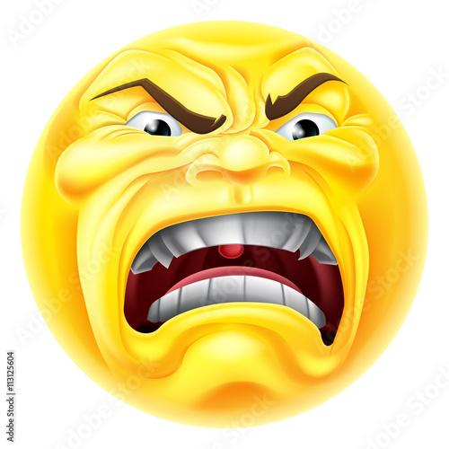Angry Emoji Emoticon Icon Canvas Print