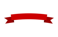 Curved Red Banner Ribbon Flat ...