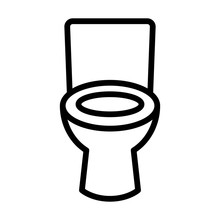 Bathroom / Restroom Toilet Seat Line Art Icon For Apps And Websites