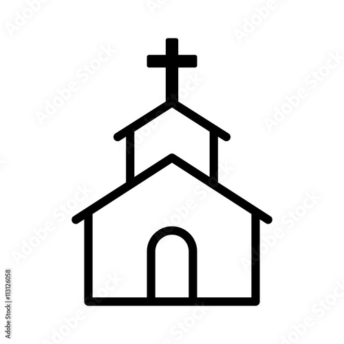 Christian church / chapel with cross line art icon for apps and websites