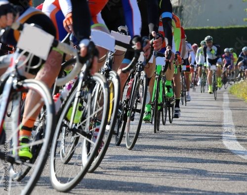 Foto op Aluminium race bike and professional cyclists during the cycling race