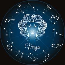 Zodiac Sign Virgo And Circle C...
