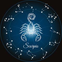 Fototapeta Znaki Zodiaku Zodiac sign scorpio and circle constellations. Vector illustration.