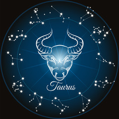 Panel Szklany Znaki Zodiaku Zodiac sign taurus and circle constellations. Vector illustration