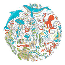 Circle Vector Set Of Sealife Animals And Plants Over White Background.