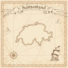 Switzerland Old Treasure Map. ...