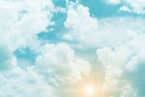 słońce i chmura w pastelowych kolorach - 113133266