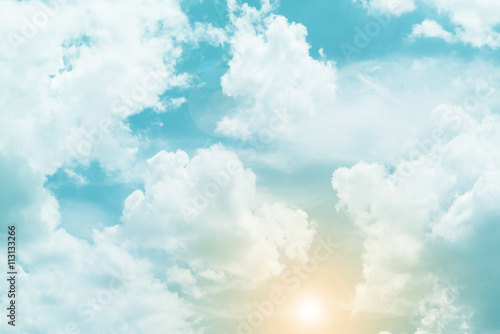 Fotografie, Obraz  sun and cloud background with a pastel colored