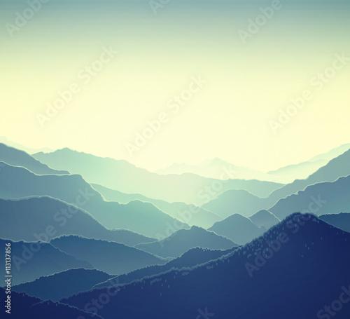 Poster Bleu nuit Mountain panoramic landscape. Nature background.