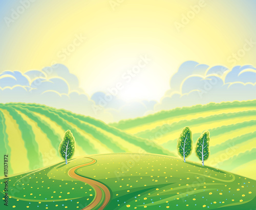 Fotobehang Zwavel geel Summer rural landscape with hills and road. Sunrise over the hills that morning.