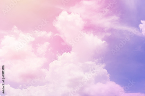 Juliste  sun and cloud background with a pastel colored