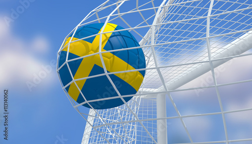 Photo  Soccer Euro 2016,Football Sweden flag shooting Goal with blurred blue sky background